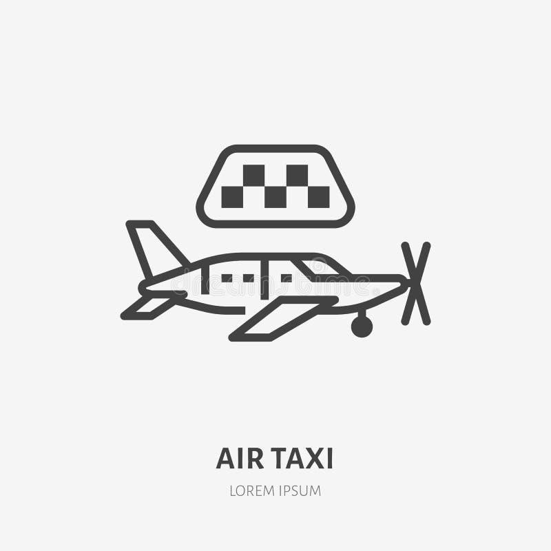 Επίπεδο εικονίδιο γραμμών αεροταξί Διανυσματική απεικόνιση αεροπλάνων Λεπτύντε το σημάδι για το ενοίκιο αεροσκαφών, ιδιωτικό αερι απεικόνιση αποθεμάτων