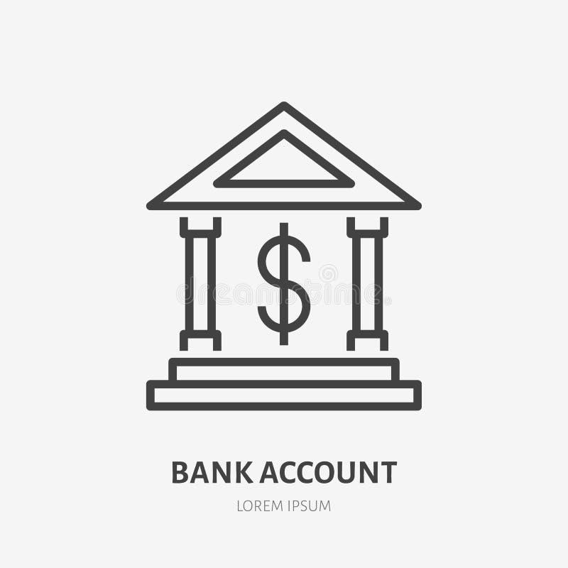 Επίπεδο εικονίδιο γραμμών απολογισμού δολαρίων τράπεζας Χρηματοδότηση που χτίζει το εξωτερικό σημάδι Λεπτό γραμμικό λογότυπο για  ελεύθερη απεικόνιση δικαιώματος