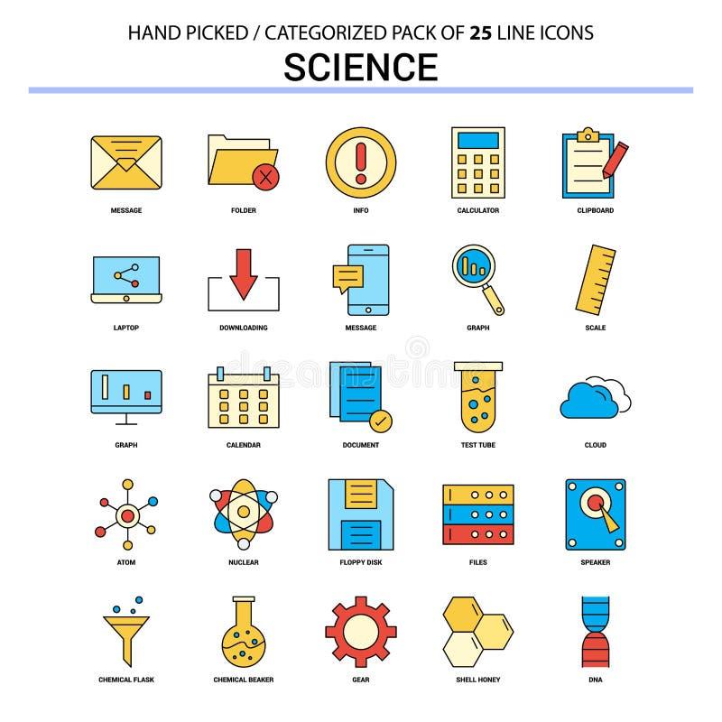 Επίπεδο εικονίδιο γραμμών επιστήμης καθορισμένο - σχέδιο εικονιδίων επιχειρησιακής έννοιας απεικόνιση αποθεμάτων