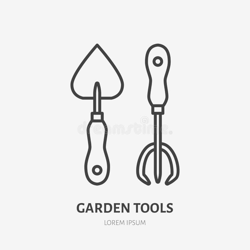 Επίπεδο εικονίδιο γραμμών εργαλείων εργασίας κήπων Σημάδι φτυαριών και δικράνων Λεπτό γραμμικό λογότυπο για την κηπουρική, γεωργί απεικόνιση αποθεμάτων