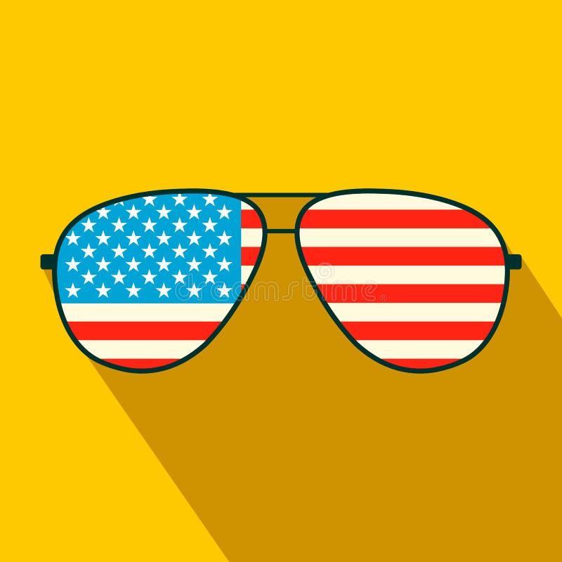 Επίπεδο εικονίδιο γυαλιών αμερικανικών σημαιών απεικόνιση αποθεμάτων