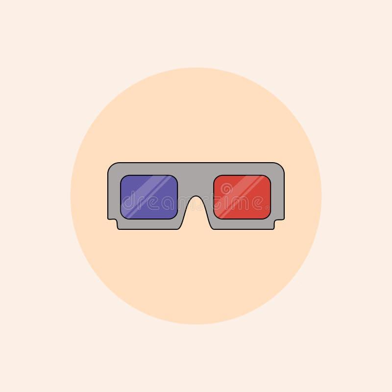 Επίπεδο εικονίδιο γυαλιών κινηματογράφων ράστερ τρισδιάστατο στα χρώματα κρητιδογραφιών ελεύθερη απεικόνιση δικαιώματος