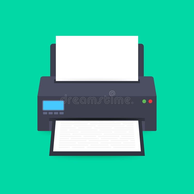 Επίπεδο εικονίδιο εκτυπωτών εκτυπωτής με το φύλλο εγγράφου a4 και το τυπωμένο έγγραφο κειμένων r ελεύθερη απεικόνιση δικαιώματος