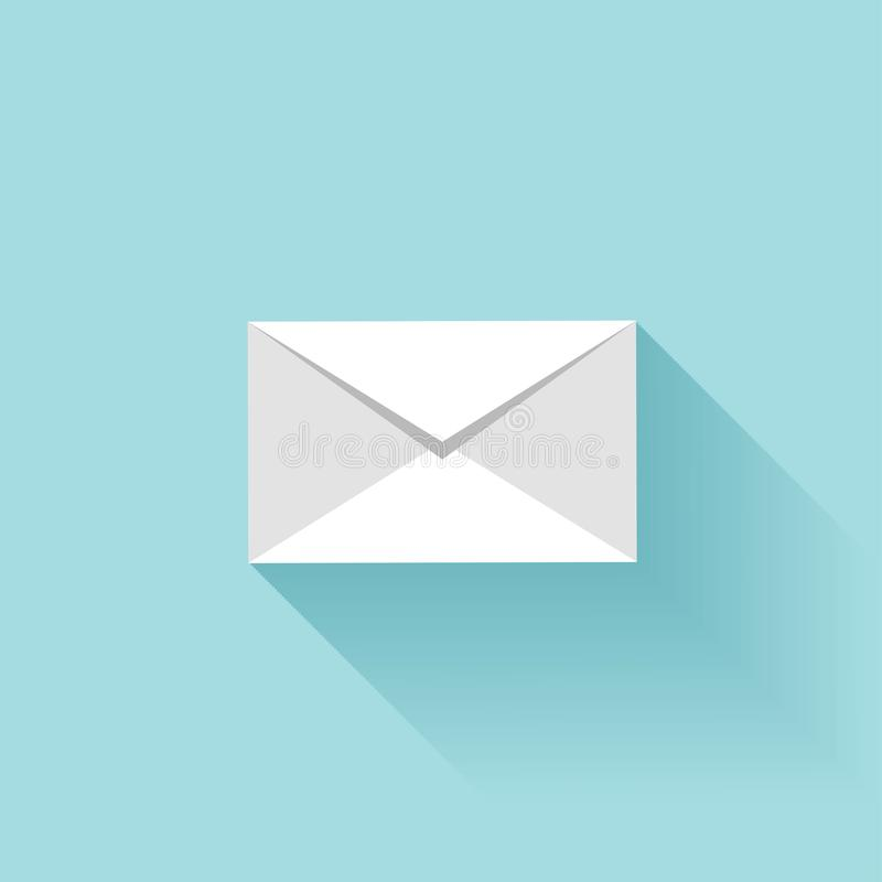 Επίπεδο εικονίδιο επιστολών με τη σκιά Sms ή σύμβολο ηλεκτρονικού ταχυδρομείου διανυσματική απεικόνιση