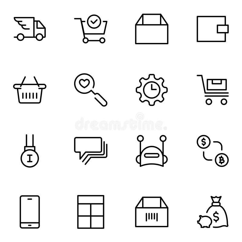 Επίπεδο εικονίδιο ηλεκτρονικού εμπορίου ελεύθερη απεικόνιση δικαιώματος
