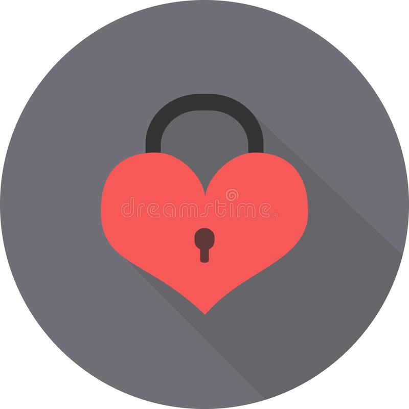 Επίπεδο εικονίδιο ημέρας βαλεντίνων ` s κλειδαριών καρδιών στο γκρίζο στρογγυλό κιβώτιο με τη σκιά στοκ εικόνες
