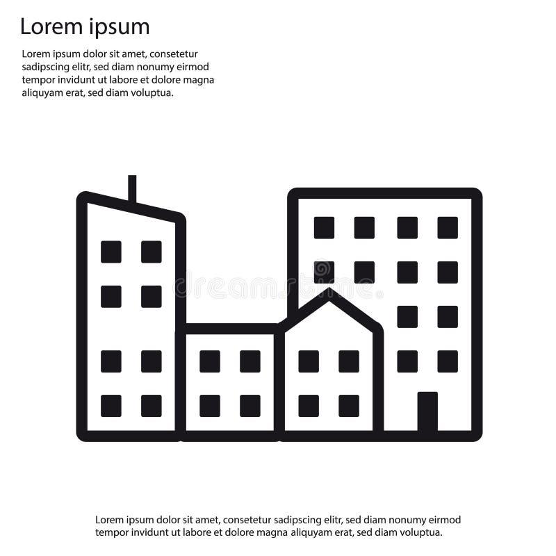 Επίπεδο εικονίδιο κτηρίων πόλεων - διανυσματική απεικόνιση ελεύθερη απεικόνιση δικαιώματος