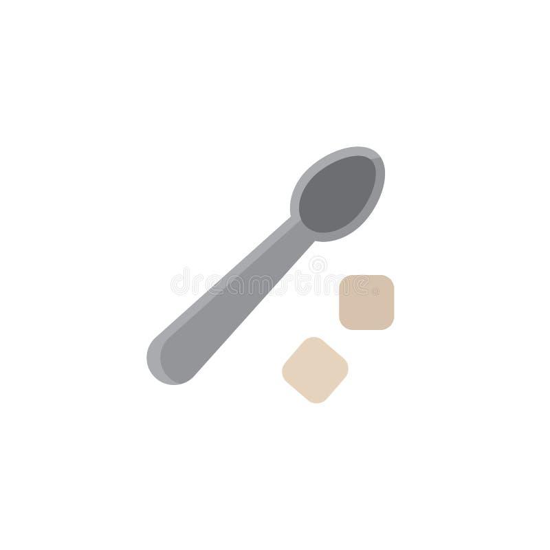 Επίπεδο εικονίδιο κύβων κουταλιών και ζάχαρης τσαγιού διανυσματική απεικόνιση