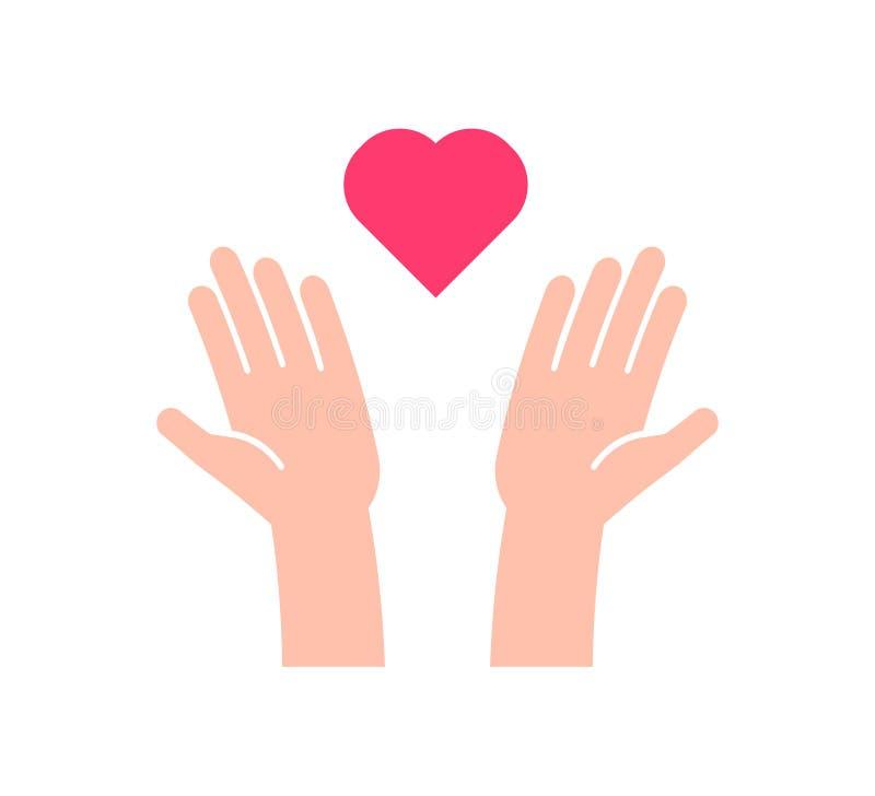 Επίπεδο εικονίδιο με 2 χέρια που λαμβάνουν ή που στέλνουν την καρδιά Διανυσματική απεικόνιση για τη φιλανθρωπία, βοήθεια, υποστήρ διανυσματική απεικόνιση