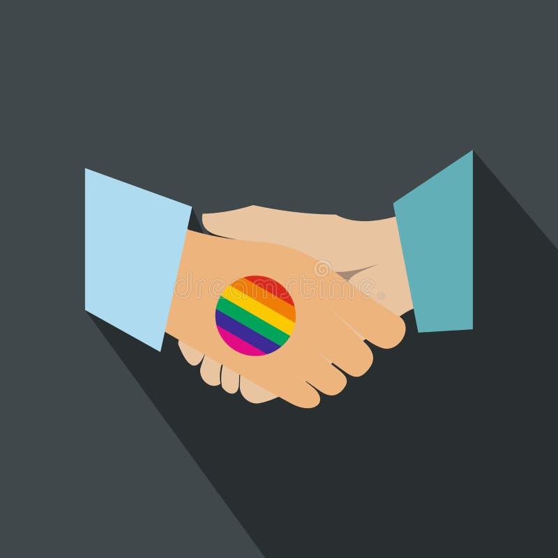 Επίπεδο εικονίδιο ουράνιων τόξων χειραψιών ομοφυλοφιλικό απεικόνιση αποθεμάτων