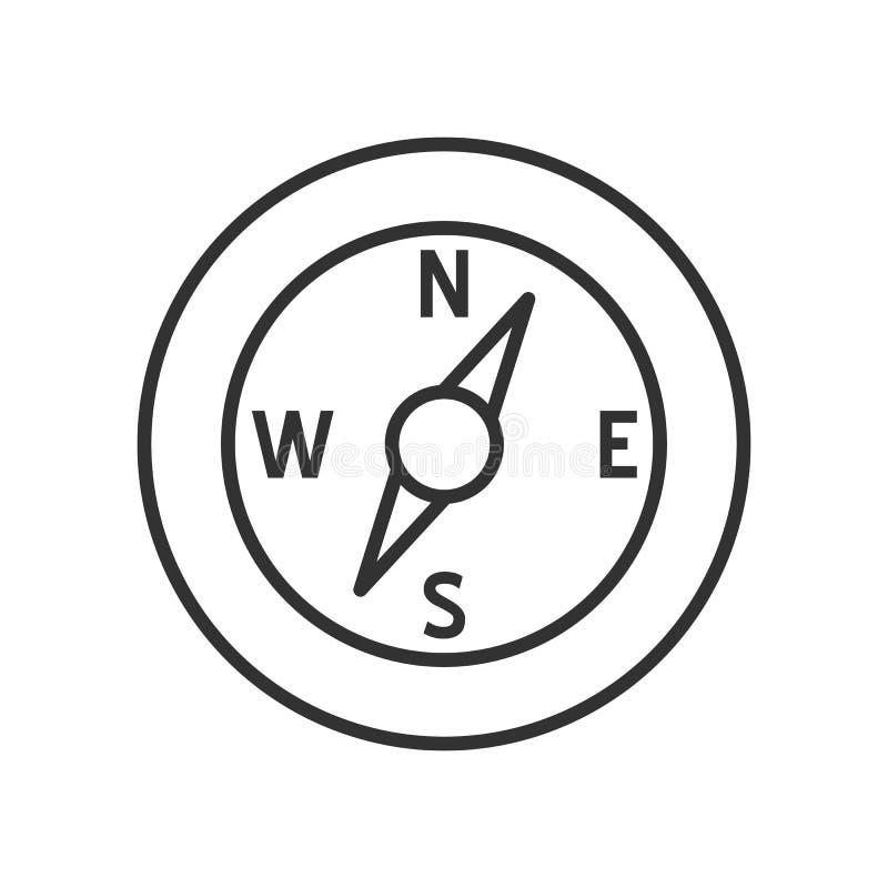 Επίπεδο εικονίδιο περιλήψεων πυξίδων στο λευκό ελεύθερη απεικόνιση δικαιώματος