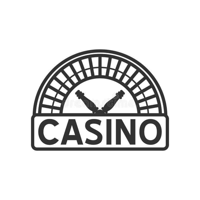 Επίπεδο εικονίδιο περιλήψεων ρουλετών χαρτοπαικτικών λεσχών στο λευκό διανυσματική απεικόνιση