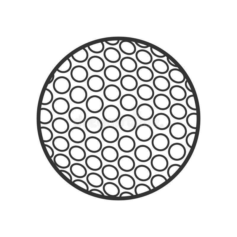 Επίπεδο εικονίδιο περιλήψεων σφαιρών γκολφ στο λευκό διανυσματική απεικόνιση