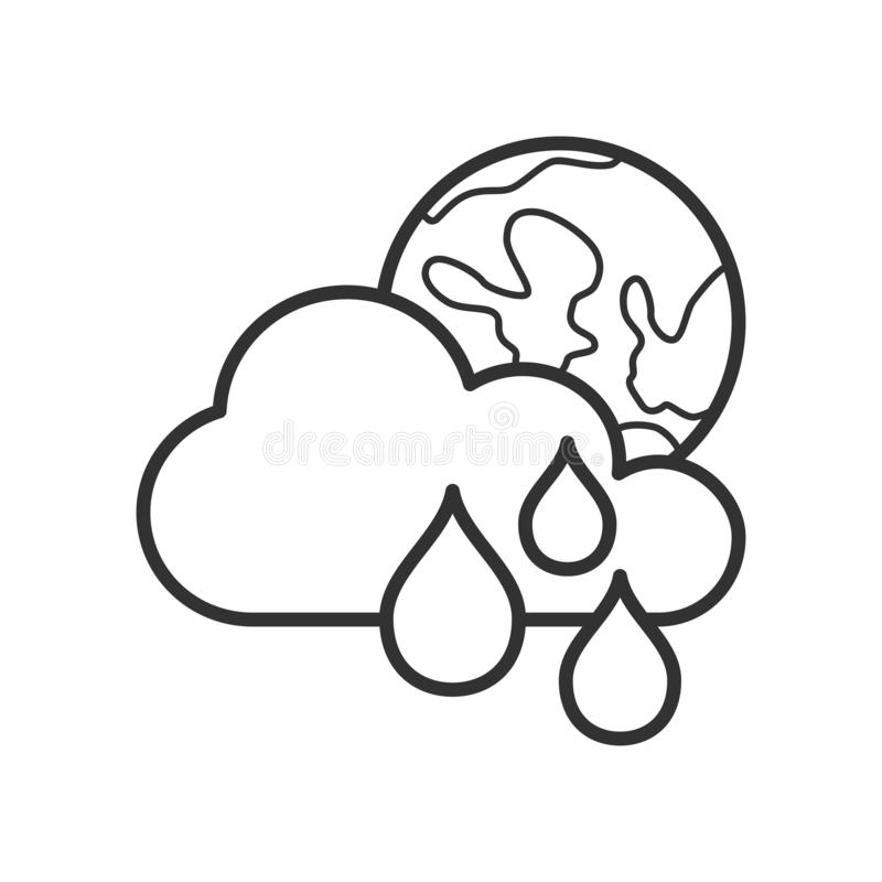 Επίπεδο εικονίδιο περιλήψεων φεγγαριών και βροχής στο λευκό απεικόνιση αποθεμάτων