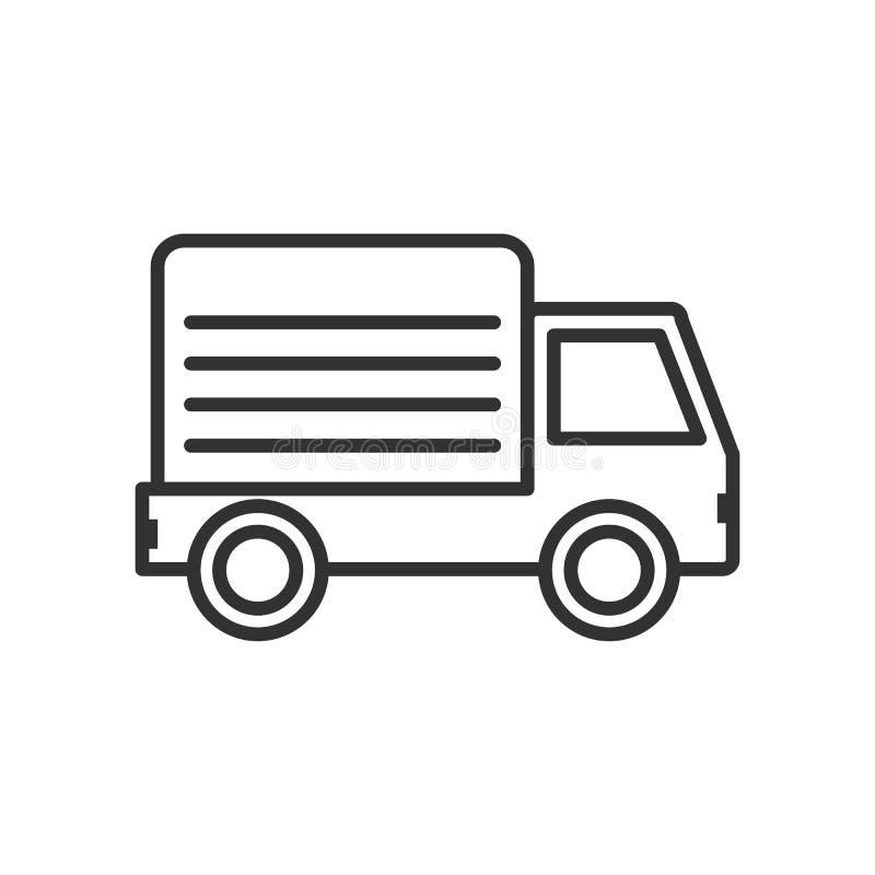 Επίπεδο εικονίδιο περιλήψεων φορτηγών παράδοσης στο λευκό διανυσματική απεικόνιση