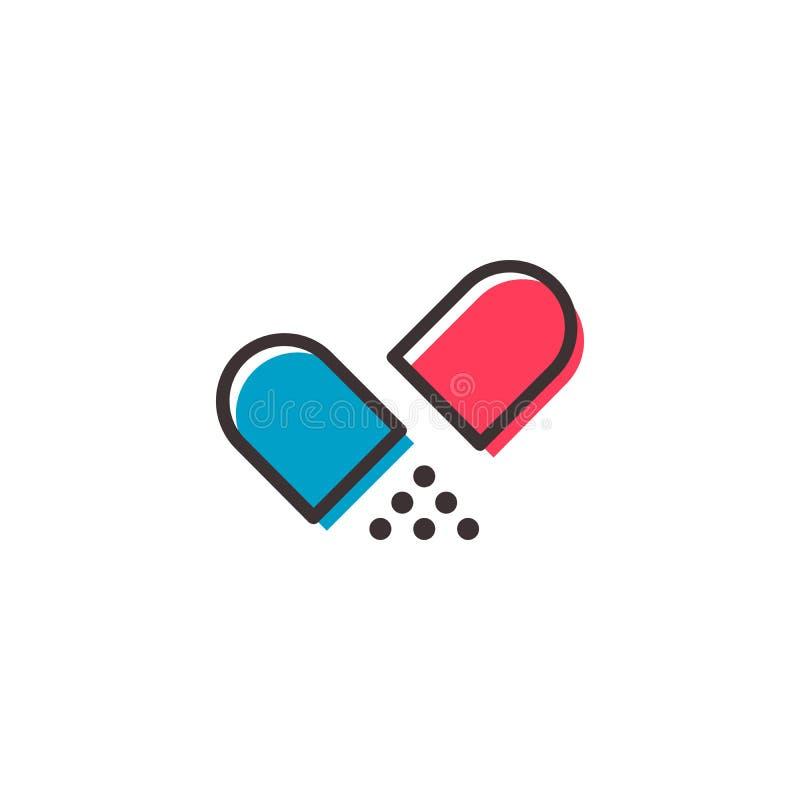 Επίπεδο εικονίδιο περιλήψεων χαπιών ελεύθερη απεικόνιση δικαιώματος