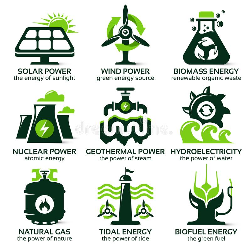 Επίπεδο εικονίδιο που τίθεται για τις φιλικές πηγές εναλλακτικής ενέργειας eco απεικόνιση αποθεμάτων