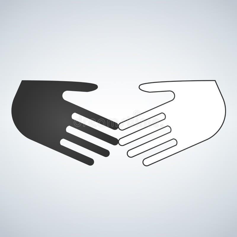 Επίπεδο εικονίδιο ρατσισμού στάσεων Γραπτά χέρια τινάγματος Φιλία, σφαιρικό διεθνές χέρι επιχειρησιακών κουνημάτων Η διανυσματική ελεύθερη απεικόνιση δικαιώματος