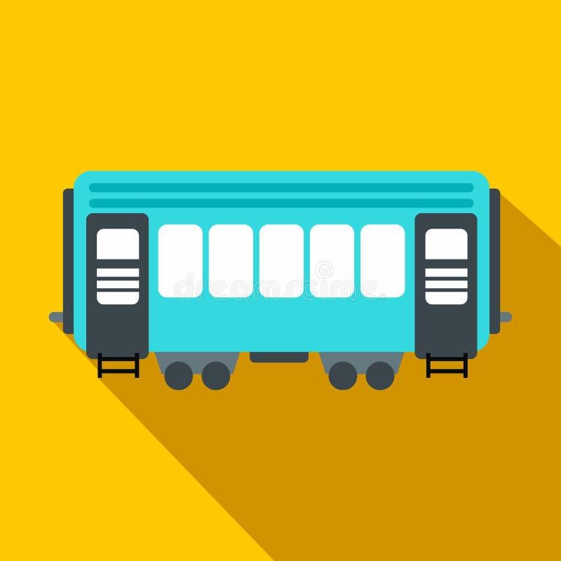 Επίπεδο εικονίδιο σιδηροδρομικών βαγονιών εμπορευμάτων επιβατών διανυσματική απεικόνιση