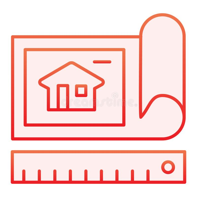 Επίπεδο εικονίδιο σχεδίων σχεδίων Κόκκινα εικονίδια σχεδίων αρχιτεκτονικής στο καθιερώνον τη μόδα επίπεδο ύφος Σχέδιο ύφους κλίση ελεύθερη απεικόνιση δικαιώματος