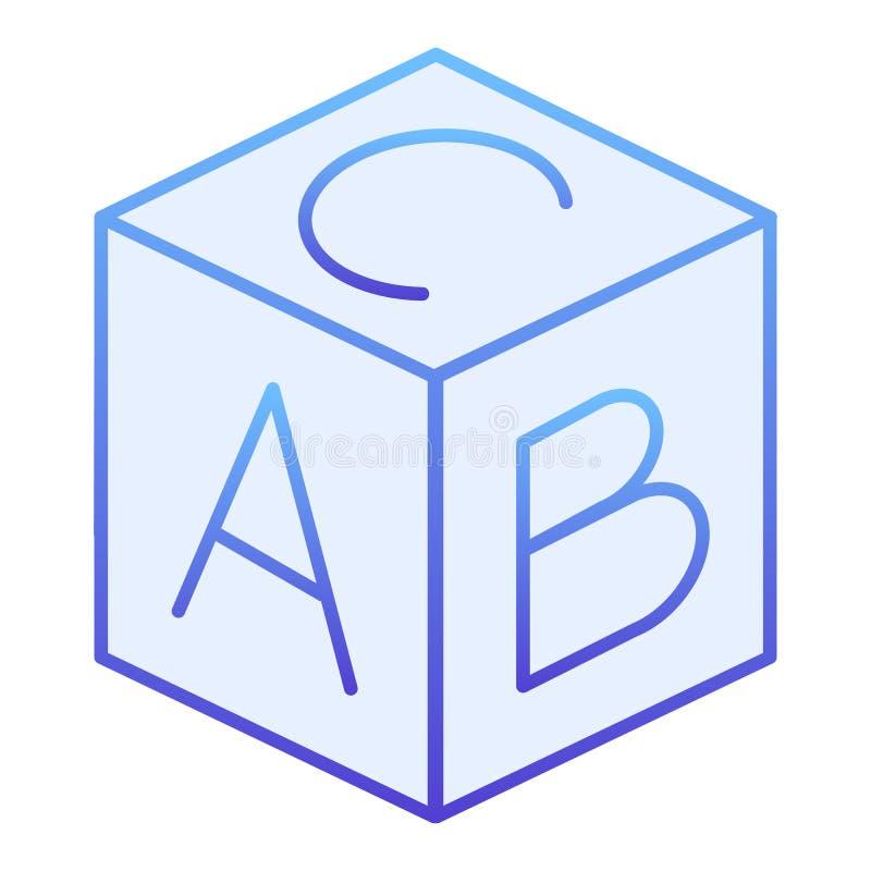 Επίπεδο εικονίδιο φραγμών αλφάβητου παιδιών Μπλε εικονίδια κύβων παιχνιδιών στο καθιερώνον τη μόδα επίπεδο ύφος Εκπαιδευτικό σχέδ ελεύθερη απεικόνιση δικαιώματος