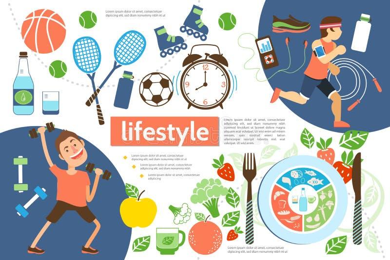 Επίπεδο ενεργό πρότυπο Infographic τρόπου ζωής διανυσματική απεικόνιση