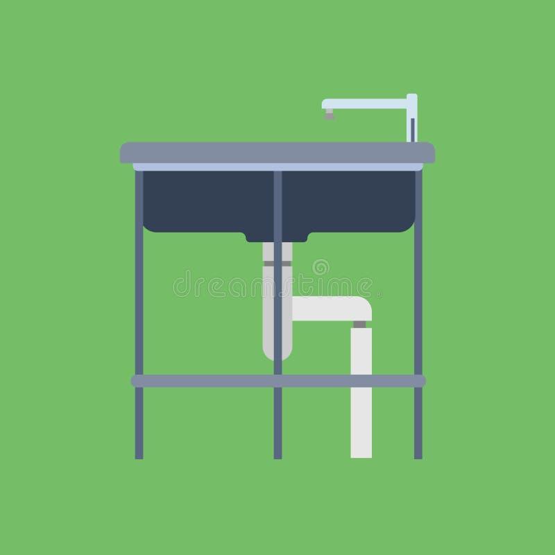 Επίπεδο εσωτερικό κουζινών εξοπλισμού στροφίγγων λουτρών εικονιδίων νεροχυτών Κεραμικό washbasin εσωτερικό διάνυσμα επίπλων σπιτι απεικόνιση αποθεμάτων