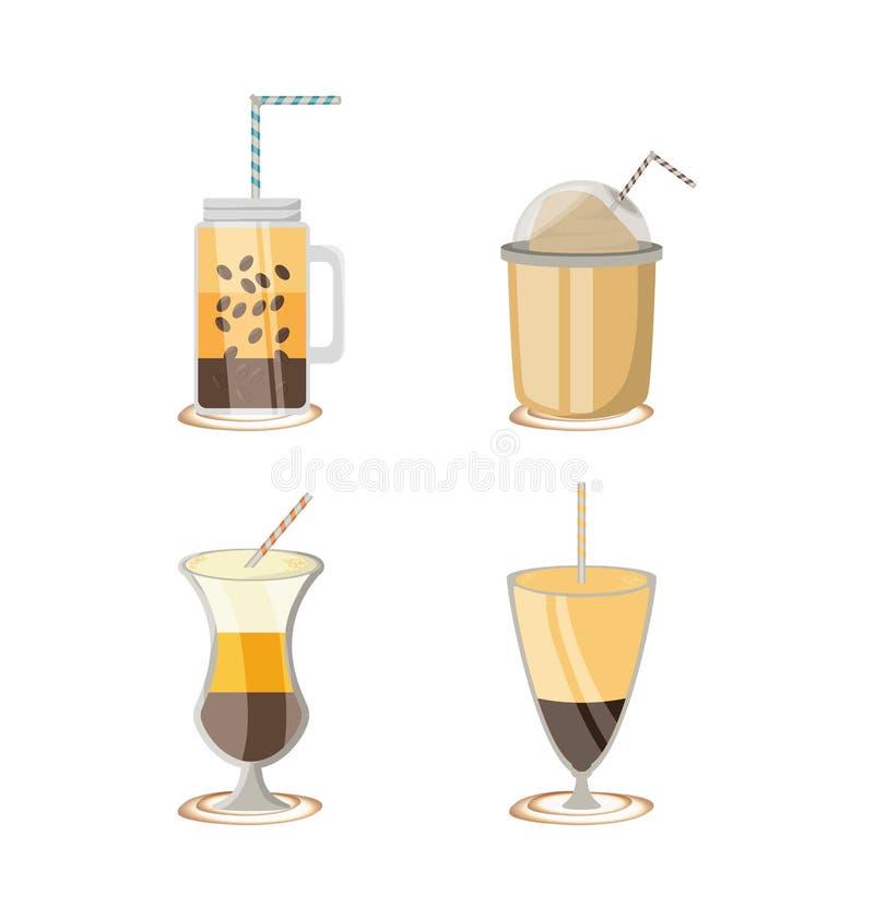 Επίπεδο καθορισμένο εικονίδιο με τον καφέ τύπων differents απεικόνιση αποθεμάτων