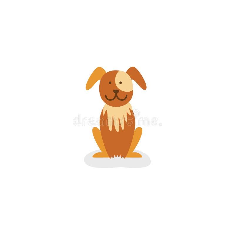 επίπεδο καφετί σκυλί κουταβιών που απομονώνεται διανυσματική απεικόνιση