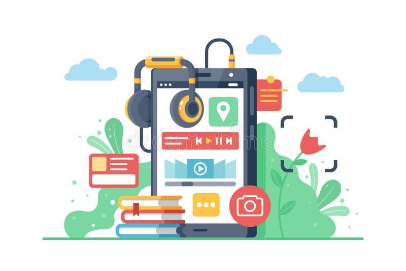 Επίπεδο κινητό τηλέφωνο με τα ακουστικά και τα μέσα στο τηλέφωνο διανυσματική απεικόνιση