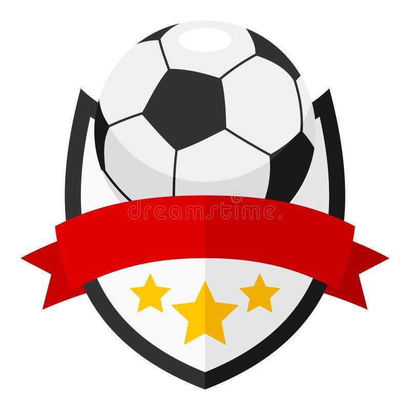 Επίπεδο λογότυπο σφαιρών ποδοσφαίρου με την κορδέλλα στο λευκό διανυσματική απεικόνιση