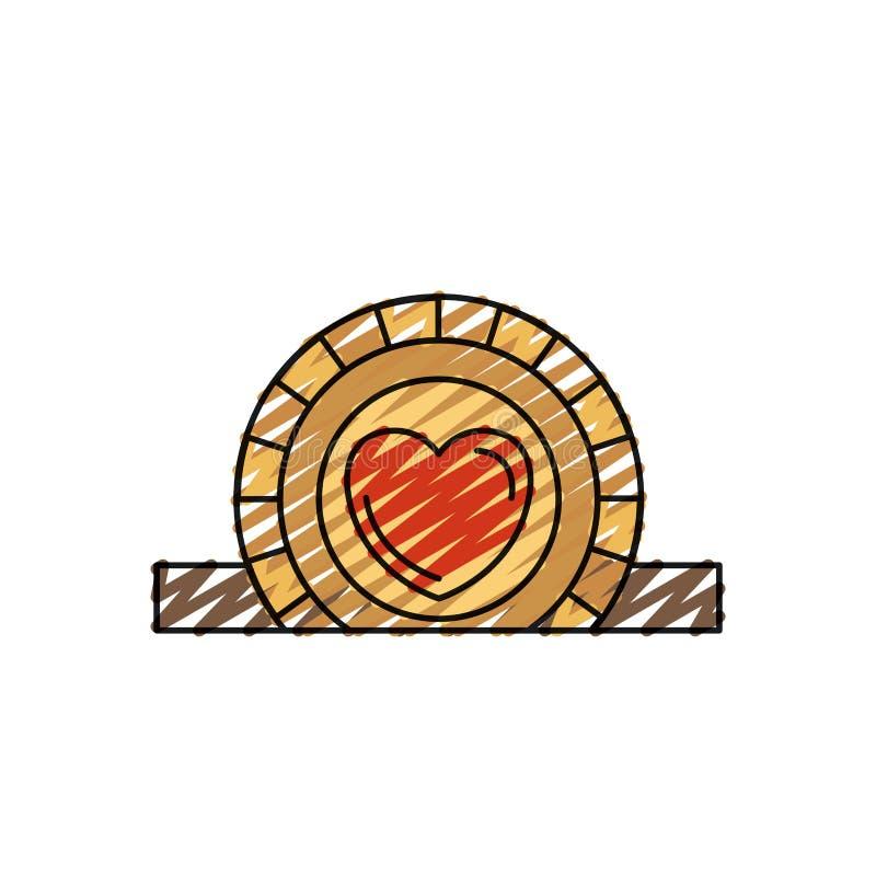Επίπεδο νόμισμα κινηματογραφήσεων σε πρώτο πλάνο σκιαγραφιών κραγιονιών χρώματος με το σύμβολο καρδιών μέσα στην κατάθεση στην ορ διανυσματική απεικόνιση