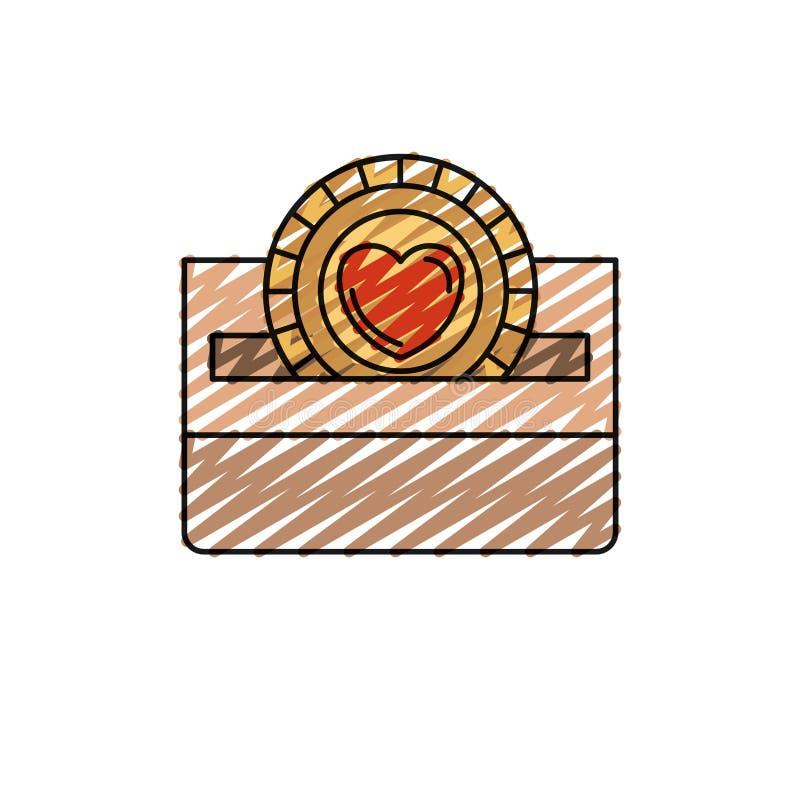 Επίπεδο νόμισμα μπροστινής άποψης σκιαγραφιών κραγιονιών χρώματος με το σύμβολο καρδιών μέσα στην κατάθεση σε ένα κιβώτιο χαρτοκι ελεύθερη απεικόνιση δικαιώματος