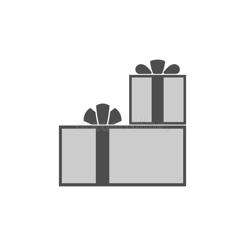 Επίπεδο παρόν εικονίδιο κιβωτίων δώρων απεικόνιση αποθεμάτων