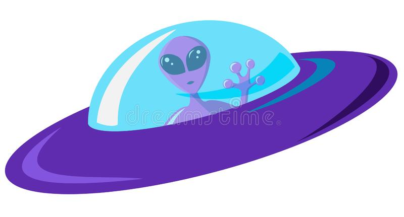 Επίπεδο πορφυρό αλλοδαπό διαστημόπλοιο σχεδίου με το μπλε γυαλί Ρόδινος Αριανός με τα τεράστια μάτια κάθεται σε ένα σκάφος και κυ διανυσματική απεικόνιση