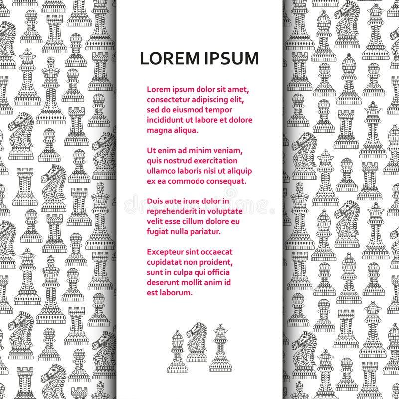 Επίπεδο πρότυπο αφισών ή εμβλημάτων με τα όμορφα διακοσμητικά κομμάτια σκακιού διανυσματική απεικόνιση