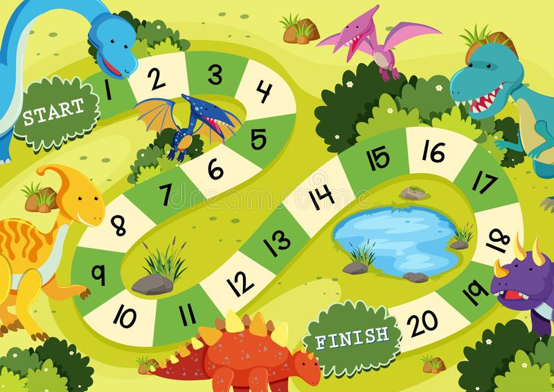 Επίπεδο πρότυπο επιτραπέζιων παιχνιδιών δεινοσαύρων απεικόνιση αποθεμάτων