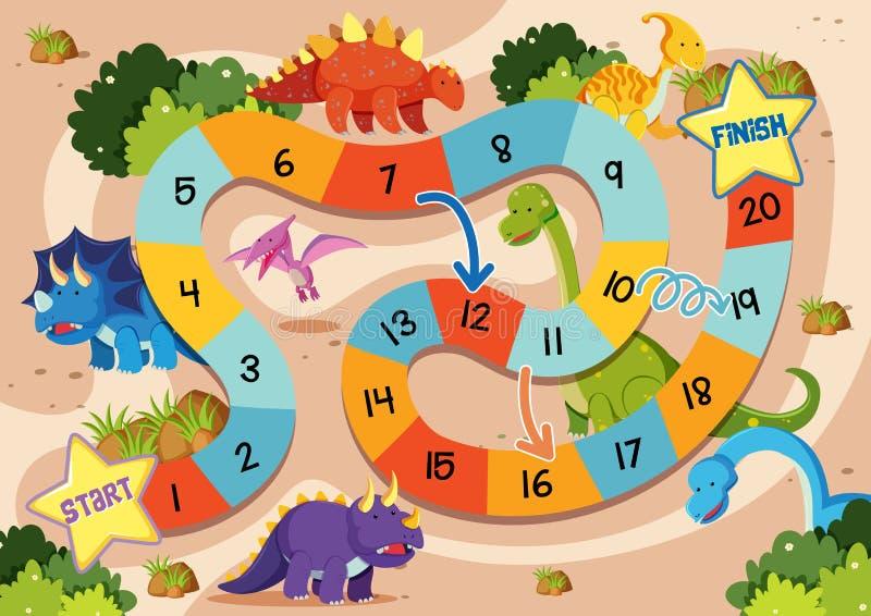 Επίπεδο πρότυπο επιτραπέζιων παιχνιδιών δεινοσαύρων διανυσματική απεικόνιση