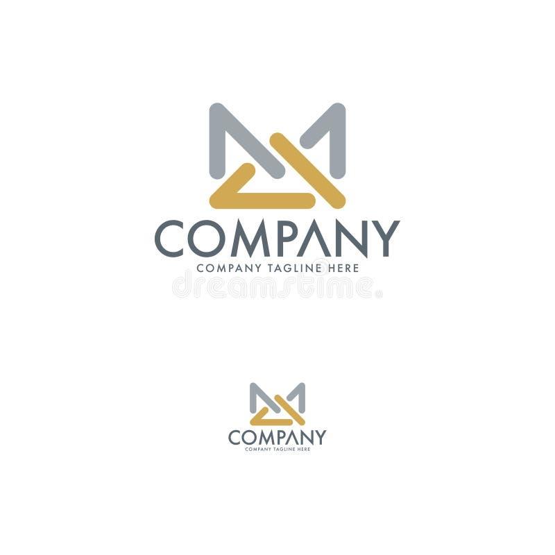 Επίπεδο πρότυπο σχεδίου λογότυπων γραμμάτων Μ Α διανυσματική απεικόνιση
