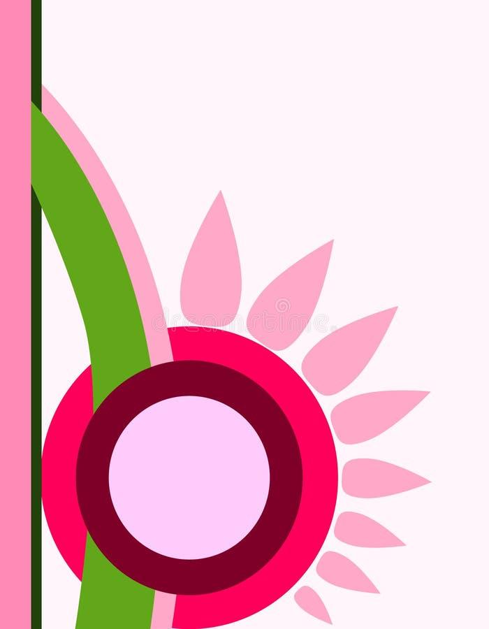 Επίπεδο ρόδινο λουλούδι περικοπών πρωτοπορίας Suprematism Εποχιακή θερινή ρομαντική κάρτα άνοιξης, αφίσα, ιπτάμενο ελεύθερη απεικόνιση δικαιώματος