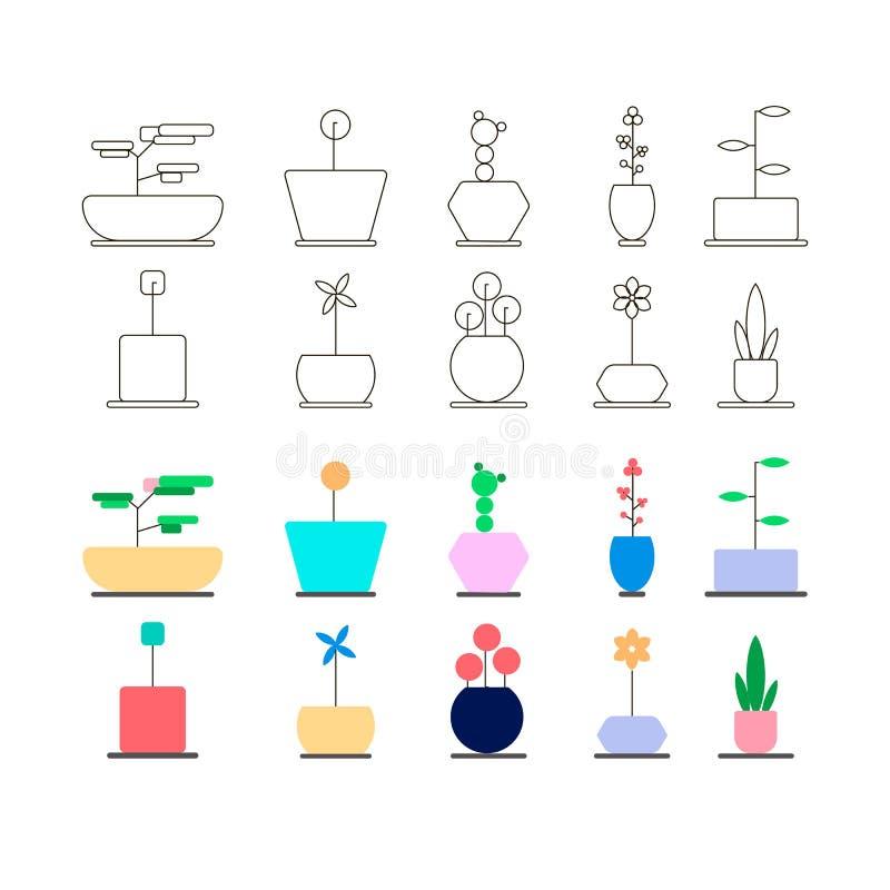 Επίπεδο σχέδιο απεικόνισης διάφορων εγκαταστάσεων λουλουδιών δοχείων εικονιδίων γραμμών διανυσματικό απεικόνιση αποθεμάτων