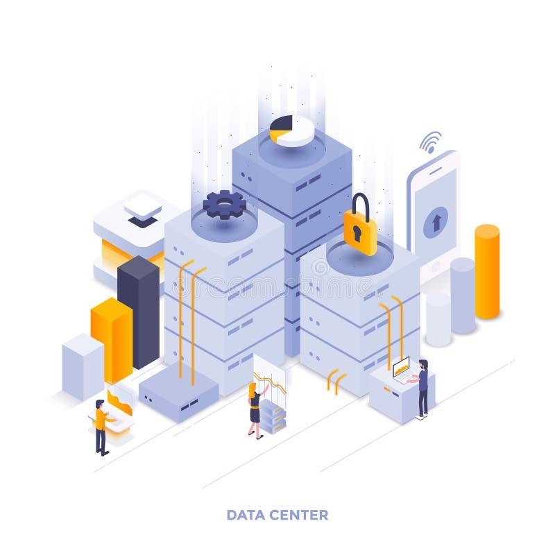 Επίπεδο σχέδιο απεικόνισης χρώματος σύγχρονο Isometric - κέντρο δεδομένων διανυσματική απεικόνιση