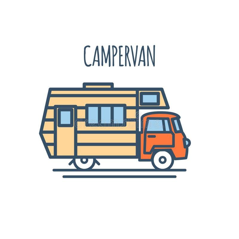 Επίπεδο σχέδιο γραμμών Campervan λεπτό διάνυσμα ελεύθερη απεικόνιση δικαιώματος