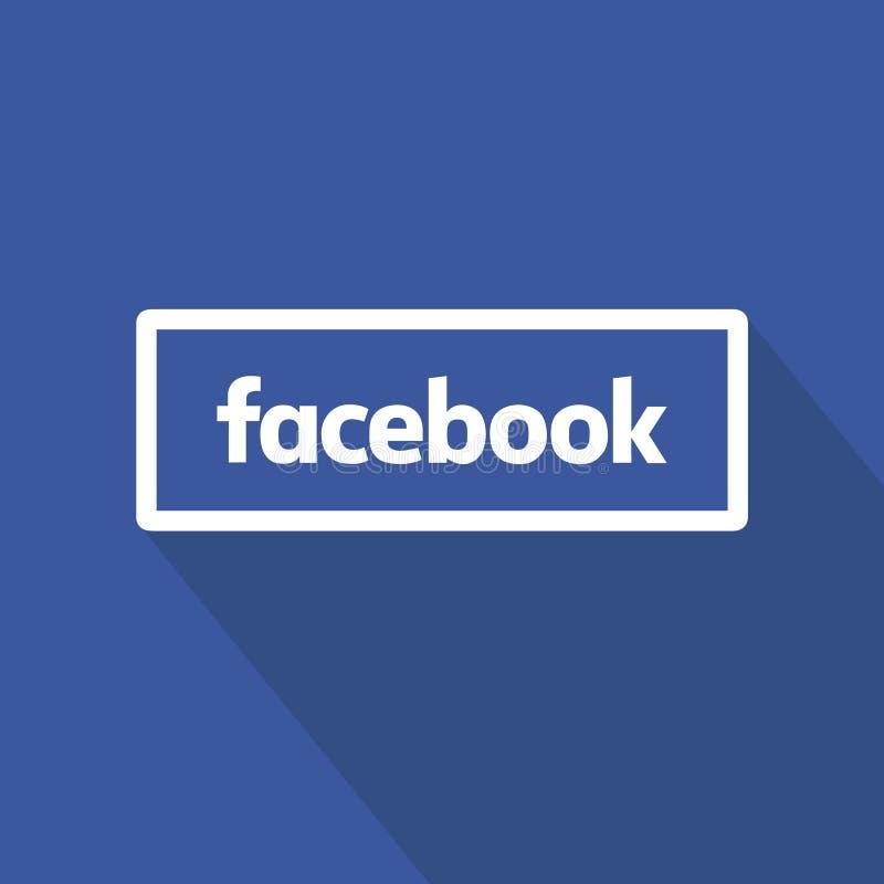 Επίπεδο σχέδιο κουμπιών Facebook πέρα από το μπλε υπόβαθρο Καθαρό διανυσματικό σύμβολο τρισδιάστατο κοινωνικό λευκό σημαδιών μέσω ελεύθερη απεικόνιση δικαιώματος