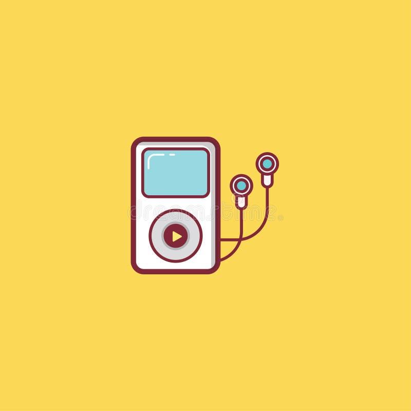 Επίπεδο σχέδιο στοιχείων απεικόνισης εικονιδίων μουσικής στοκ εικόνες με δικαίωμα ελεύθερης χρήσης