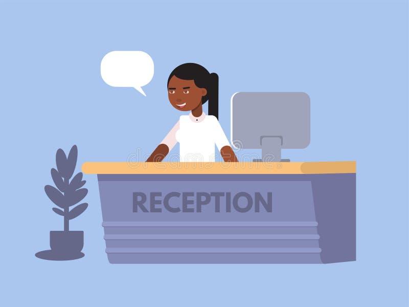 Επίπεδο σχέδιο χρώματος γυναικών ρεσεψιονίστ τράπεζας r διανυσματική απεικόνιση