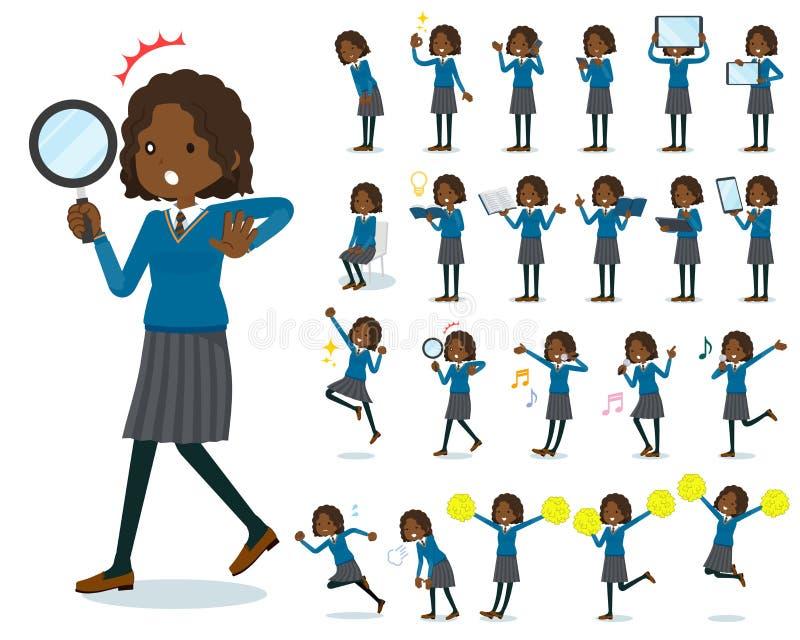 Επίπεδο σχολικό κορίτσι Black_Action τύπων διανυσματική απεικόνιση