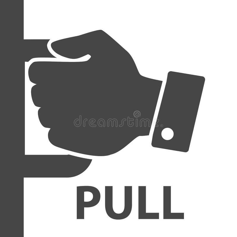 Επίπεδο σύγχρονο μαύρο χέρι με τη λαβή στο άσπρο υπόβαθρο Έννοια ελεύθερη απεικόνιση δικαιώματος