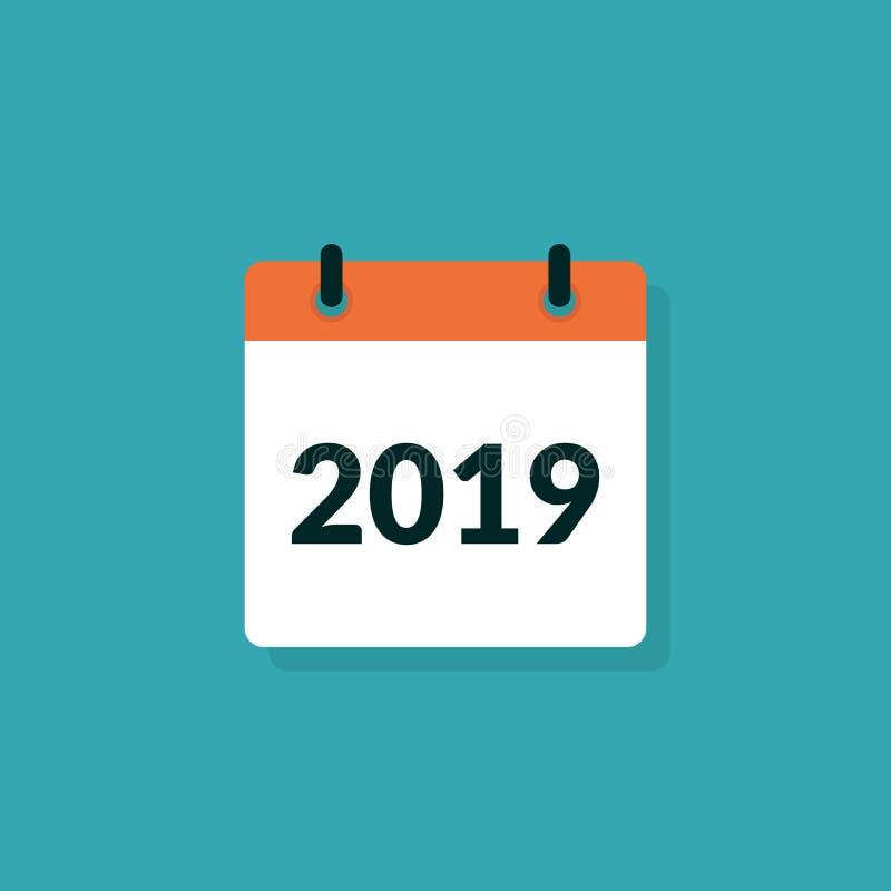 Επίπεδο σύγχρονο πρότυπο απεικόνισης σχεδίου ημερολογιακού έτους 2019 διανυσματικό ελεύθερη απεικόνιση δικαιώματος