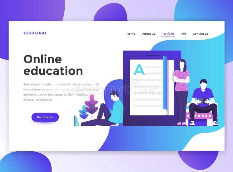 Επίπεδο σύγχρονο σχέδιο του προτύπου wesite - σε απευθείας σύνδεση εκπαίδευση διανυσματική απεικόνιση